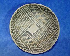 PREHISTORIC POTTERY - North America - 'Old Anasazi Bowl; Black on white' - Len Wood's Indian Territory