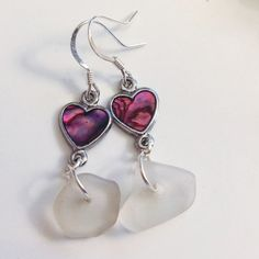 Sea Glass Earrings ~ Pink Heart Beach Glass Jewelry ~ Love earrings ~ Heart Jewelry for Sister, Cousin, Friend ~ Birthday Gift for her