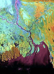IHS color=coded scene of much of Bangledesh, including the Ganges Delta.