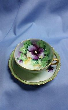 Beautiful-Handpainted-and-Signed-China-Cup-and-Saucer-from-Austria