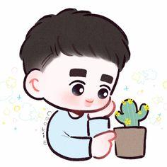 Kyungsoo, Kaisoo, Chanyeol, Exo Stickers, Exo Anime, Exo Fan Art, Exo Do, Cute Cartoon, Cute Wallpapers