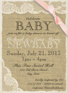 58 best p girl shower invates images on pinterest girl shower baby shower invitations burlap texture lace baby shower invitation filmwisefo