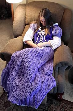 Princess Dress Blanket purple crochet pattern Digital