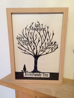 Family tree papercut by www.facebook.com/papercuttingdonkey