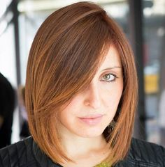 Angled Bob With Side Bangs For Straight Hair