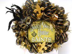 New Orleans Saints Football Deco Mesh Door Wreath, $90.00