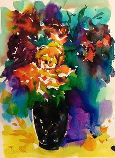 flowers in a black vase watercolor art by Konrad Biro