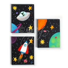Childrens Wall Art BLACK SPACE SET Set of 3 8x10 by nJoyArt, $125.00