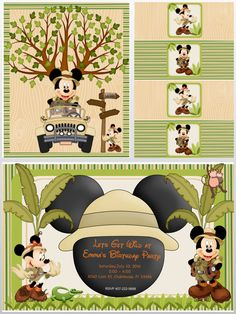 Mickey and Minnie Safari Party, Mickey Safari, Minnie Safari, Mickey and Minnie… Safari Theme Birthday, Twin Birthday Parties, First Birthday Party Decorations, Mickey Birthday, Mickey Party, Safari Party, Jungle Party, Minnie Safari, Safari Invitations