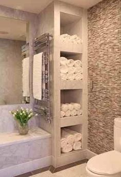 I like the little hidden spot for towels