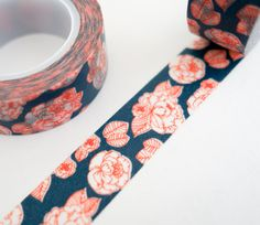 Single roll of blue floral washi tape with beautiful red rose pattern. Great for scrapbooking, gift wrapping, decorating cards and envelopes and more! Add a little dash of cuteness to any crafting pro Tapas, Scotch, Planners, Washi Tape Crafts, Washi Tapes, Beautiful Red Roses, Cute Stationery, Paper Tape, Wine Bottle Crafts