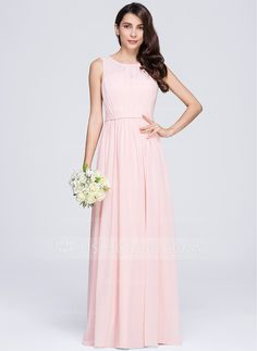 A-Line/Princess Scoop Neck Floor-Length Ruffle Zipper Up Regular Straps Sleeveless No Other Colors Spring Summer Fall General Plus Chiffon Bridesmaid Dress