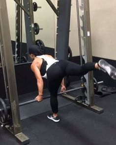 Smith Machine Single Leg Deadlifts 4x15 (each leg) TIP Nice and controlled movement on this one guys. Let the weight help you on the way down really focusing on the stretch in your hamstring, once you feel that stretch bring the bar back up and trust threw your hips. And as always SQUEEZE!!