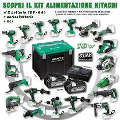 Scopri il #KitAlimentazione #Hitachi 2 batterie 18 V - 6 Ah + #caricabatteria + box. E' possibile abbinare il Kit Alimentazione a 2 corpi #macchina a scelta tra i 20 disponibili. #trapano #drill #sega #saw #multifunzione #multitool #musthave