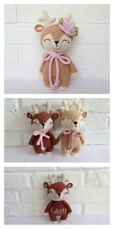 Crochet Amigurumi Free Patterns, Crochet Animal Patterns, Stuffed Animal Patterns, Crochet Dolls, Crochet Deer, Cute Crochet, Crochet Crafts, Crochet Projects, Motif Mandala Crochet
