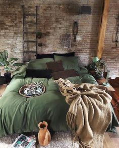 his cosy bedroom is looking lush with green. Loveeee Image by his cosy bedroom is looking lush with green. Loveeee Image by Bohemian Bedrooms, Home Bedroom, Bedroom Ideas, Bedroom Interiors, Design Bedroom, Modern Bedroom, Bedroom Furniture, Bed Design, Bedroom Green