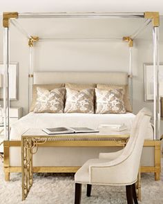 -6K05 Bernhardt  Hayworth Golden Acrylic King Bed