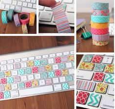 "Cute idea to duck tape computer keys. Pinner said ""Its not duck tape its a craft tape that you can see through. Its called washi tape you can find in most hobby stores like hobby lobby and some walmart stores carry it and Michael stores!"""
