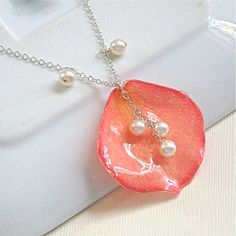 Real Rose Petal Necklace  Pink/  Pearls/  Sterling by mcstoneworks, $42.00