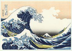 Hokusai (1760 - 1849) Japanese Woodblock Reprint   The Great Wave   Series; Thirty-six Views of Fuji
