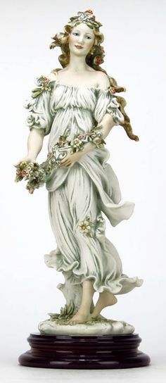 "GIUSEPPE ARMANI FIGURINE TITLED ""FLORA"" #212C.Depicting a Woman Holding a Basket of Flowers."