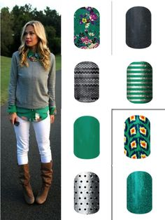 Fun Jamberry nail wrap combos for fall! Click the image to order! http://exclusivenailwraps.jamberrynails.net
