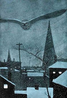 Owl over the snowy city illustration by Walter King Stone Winter Illustration, Children's Book Illustration, Nocturne, Wow Art, Winter Art, Winter Painting, Winter Night, Art Graphique, Graphic Art
