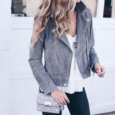 gray suede moto jacket outfit with leather leggings