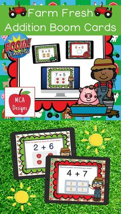 My Farm Fresh Addition Digital Task Card set includes 40 task cards which are accessed via Boom Learning. Each digital task cards focuses basic addition facts 0-20. All task cards are accented with bright colors and farm themed graphics. #teacherspayteachers #tpt #boomcards #boomlearning Science Resources, Teaching Resources, School Resources, Teaching Ideas, Math Skills, Math Lessons, Hands On Activities, Math Activities, Elementary Schools