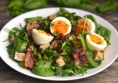 Sült baconos, tojásos saláta   Nor receptje - Cookpad receptek Healthy Life, Healthy Eating, Tasty, Yummy Food, Lettuce, Cobb Salad, Bacon, Paleo, Food And Drink