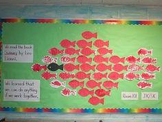 Terrific community building bulletin board for the read aloud book, Swimmy!