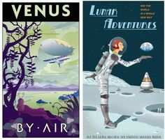 Retro space posters for nursery