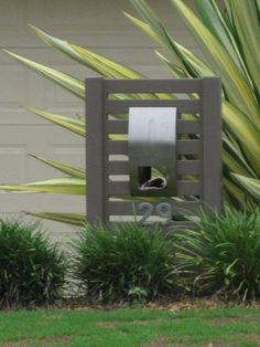 letterbox Diy Letter Boxes, Mailbox Garden, Modern Mailbox, Timber Fencing, Diy Garden Bed, Landscape Walls, Landscape Design, Outdoor Living, Outdoor Decor