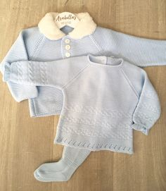 69bac72a7566 Baby blue boys knitted 3 piece suit with fur collar, knitted jumper and  leggins.