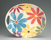 Flower Power Platter / Tray Colorful Hand Painted with Handles