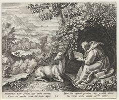 Raphaël Sadeler (I) | Heilige Aegidius van Nîmes als kluizenaar, Raphaël Sadeler (I), Johann Sadeler (I), 1594 | De H. Aegidius van Nîmes, een Franse kluizenaar uit de achtste eeuw na Christus. Hij zit een bijbel te lezen in een bos. Naast hem een tamme hinde, zijn attribuut. Op de achtergrond een jachttafereel. Koning Wamba van de Visigoten tracht de hinde dood te schieten met een kruisboog.