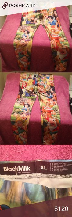 Blackmilk collaboration with Disney Snow White xl Rare Blackmilk in collaboration with Disney official Snow White leggings. Limited edition and v hard to find in Xl. Worn once and hand washed and air dried. Has Blackmilk and Disney labels inside. No pulling anywhere as new but seams seem to me more visible on this piece than some others (no pun intended). Not stretched out tho as They were like this new from BM I think it's due to the lighter patterning areas or maybe it's something only I…