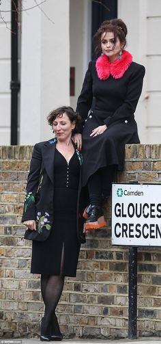 Glamorous ladies: Helena Bonham Carter joined author Nina Stibbe for a photoshoot in Londo...