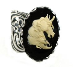 black unicorn cameo ring