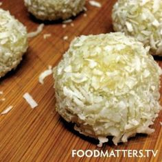 Food Matters Raw Lemon  Coconut Blissful Balls Recipe!   - 2 tbsp Food Matters Superfood Protein  - 1 cup ground almonds - 4 tbsp coconut oil - 1 lemon (juice  zest)  - 2 cups organic desiccated coconut  - 2 tbsp raw honey   Blend all ingredients (except 1/2 cup desiccated coconut) in the food processor or blender until dough consistency. Roll into small balls and roll in the remaining desiccated coconut to coat. Store in fridge and enjoy when you feel like a healthy treat!