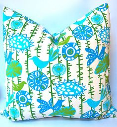 Etsy Shop Festive Home Decor. NEW Fabric Decorative Pillows, 20 x 20 Throw Pillow Covers, Accent Pillows, Bird and Vines in Bright Green and Turquoise on Natural. $34.00, via Etsy.