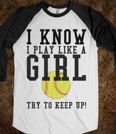 Play like a girl softball tee t shirt. need this for the box