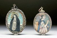 "18th C. Spanish Reliquaries, Silver Frames, ex-Historia. Spain, 18th century CE. Pair of small silver portraits, each with an image of a Saint printed on paper. Each is silver and each is designed to be double sided. Size: largest measures 3-5/8""H; 111.6 grams. Estimate $1,200 – $1,500"