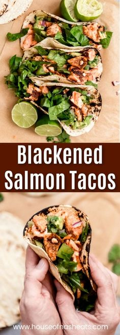These incredible Blackened Salmon Tacos topped with avocado salsa are incredibly fresh and flavorful! Served on charred corn or flour tortillas with crunchy romaine lettuce, these easy fish tacos come together in less than 30 minutes for a wonderful dinne Best Salmon Recipe, Salmon Recipes, Fish Recipes, Seafood Recipes, Mexican Food Recipes, Dinner Recipes, Cooking Recipes, Healthy Recipes, Spicy Recipes