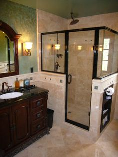 shower remodel idea (love the half walls on the shower)