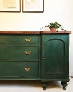 Painted in Amsterdam green and sealed with clear and dark wax on this Victorian pine sideboard - SOLD! Green Painted Furniture, Pine Furniture, Refurbished Furniture, Repurposed Furniture, Furniture Projects, Furniture Makeover, Furniture Online, Furniture Stores, Discount Furniture