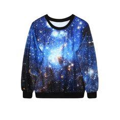 Blue Starry Sky Print Sweatshirt ($15) ❤ liked on Polyvore featuring tops, hoodies, sweatshirts, blue hooded sweatshirt, print hoodies, blue sweatshirt, patterned hoodies and print sweatshirt