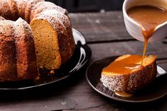 This pumpkin Bundt cake recipe uses pumpkin purée; has cinnamon, cloves, nutmeg, and allspice; and is topped with a salted caramel sauce.