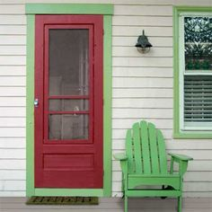 Not my colors, but I like the simple trim and style of the screen door - need to allow room for adding one and replacing it with a winter storm door when we replace the front door...