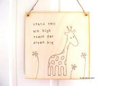 Handmade wooden giraffe sign | giraffe art | wood burning | pyrography | giraffe…